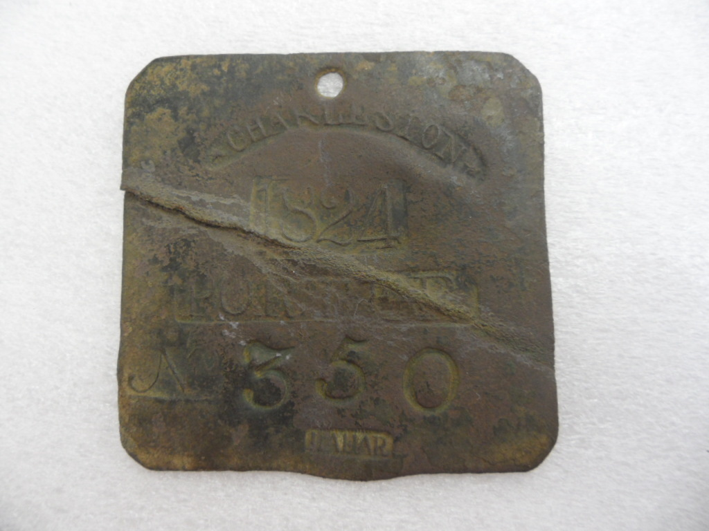 1824 Porter 350 Charleston Slave Hire Tag Badge