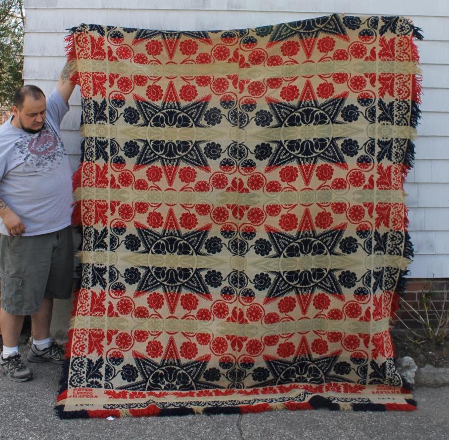 Item: 19thC Pennsylvania Folk Art Jacquard Wool Coverlet Blanket Sold For:  $758.00. Bids: 36. Date: Apr 23, 2012. Auction: Ebay Seller: Wwolst12