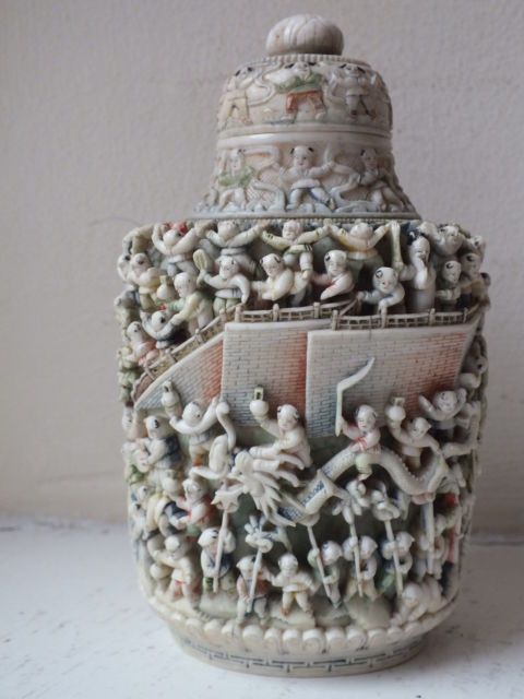 19th C Chinese Carved Ox Bone 100 Boys Snuff Bottle
