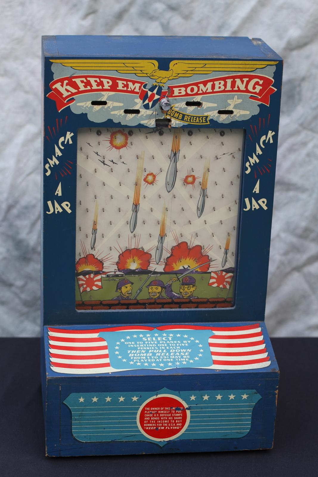 1942 WWII Atlas Novelty Keep Em Bombing Penny Drop Trade ...