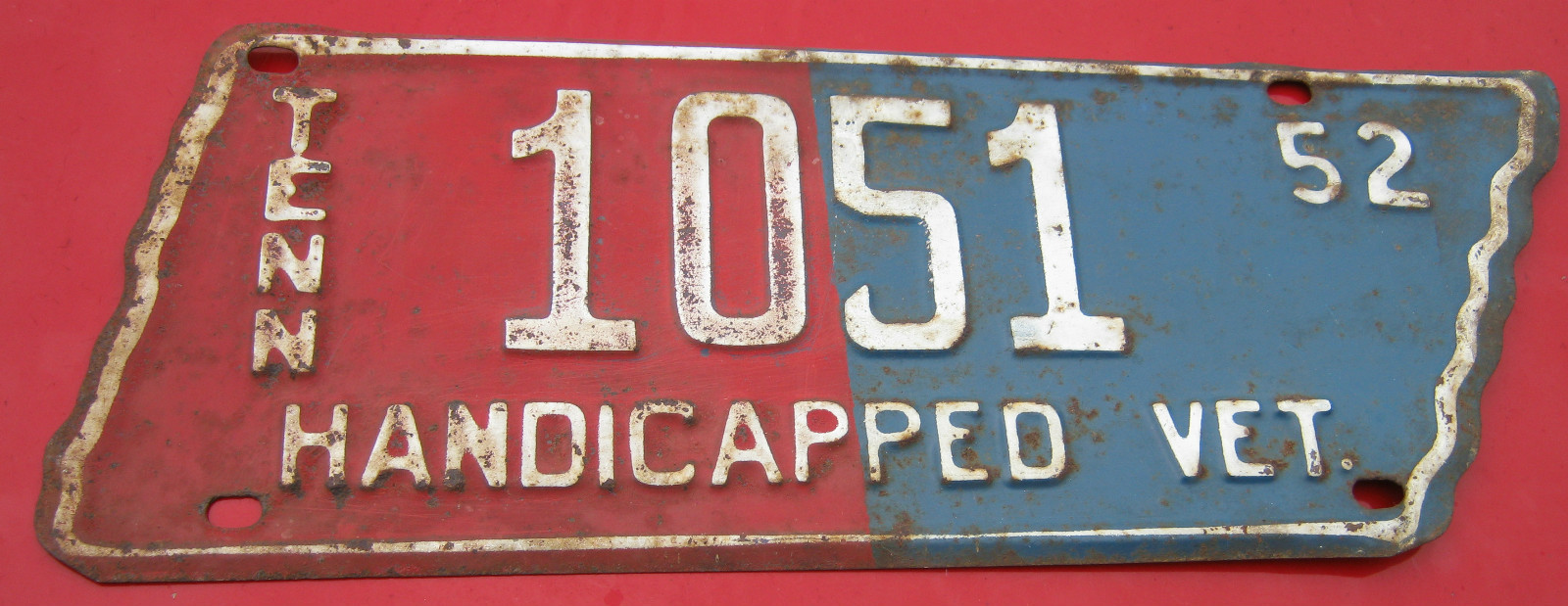 1952 Handicapped Veteran Tennessee Automobile License Plate Tag Tn ...