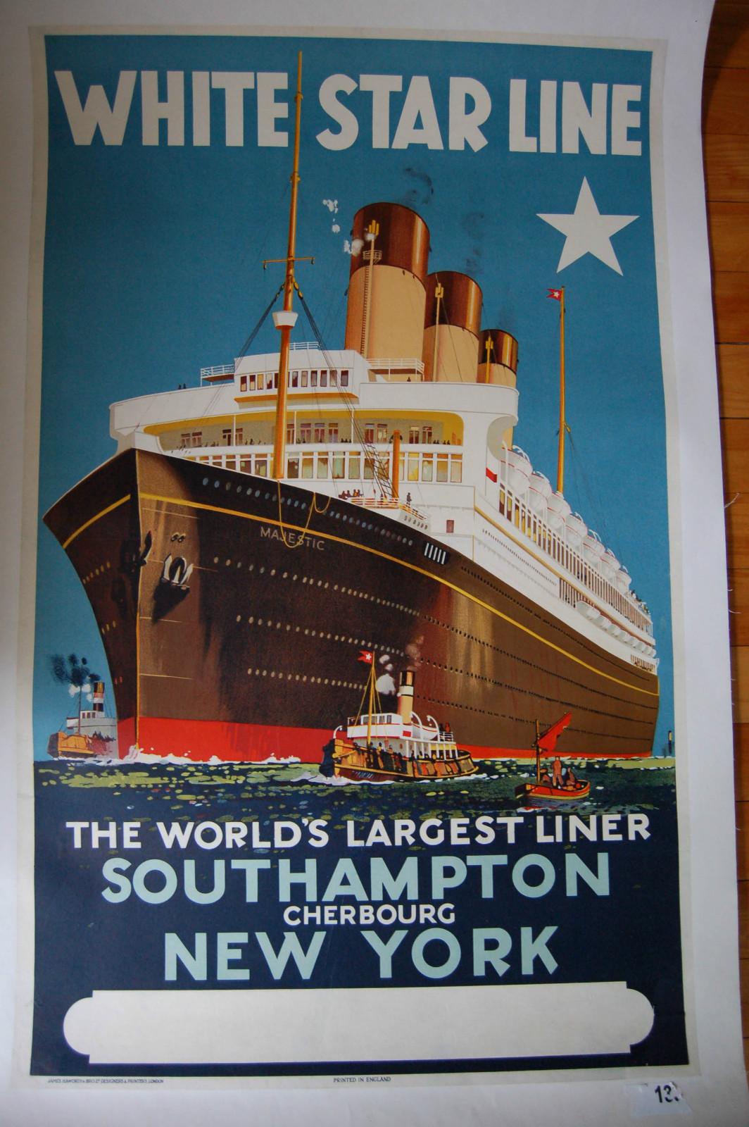 Item 1928 white star majestic travel poster cruise ship southampton