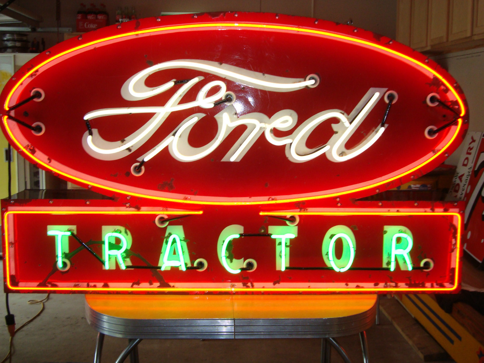 ford neon tractor sign tractors porcelain signs antique powerful classic simple cars google trucks lighted greatestcollectibles deere john holland restored
