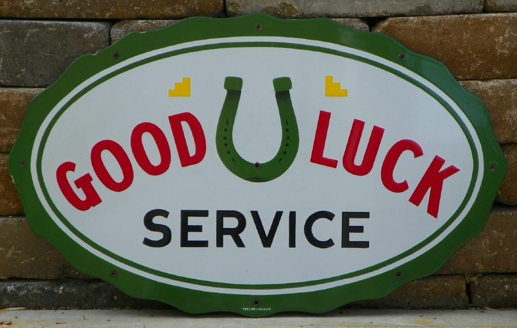Original Porcelain 1930's-40's Good Luck Service Oil Company