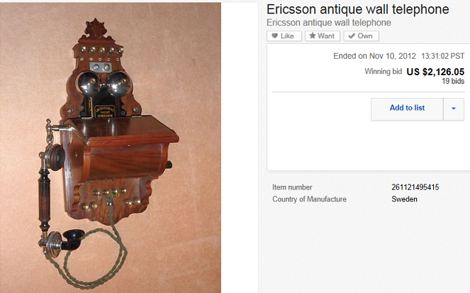 Ericsson Wall Telephone Sold For 2 126 05 On Ebay Greatest Collectibles