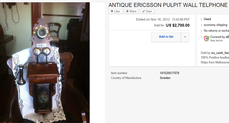 Ericsson Pulpit Wall Telephone Sold For 2 700 00 On Ebay Greatest Collectibles