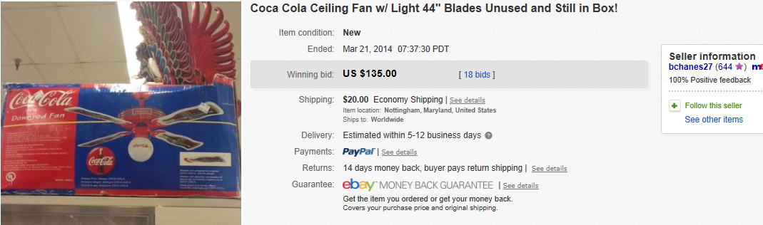 Coca cola fans greatest collectibles coca cola ceiling fan w light 44 blades unused and still in box aloadofball Images
