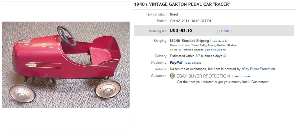 vintage pedal car price guide