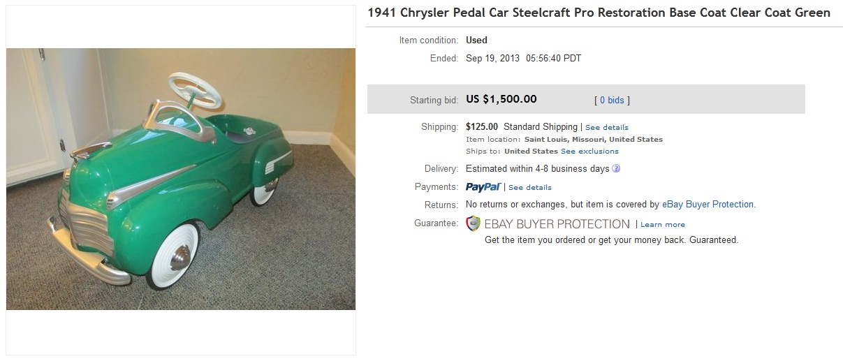 1941 Chrysler Pedal Car Sold for $1500. on eBay | Greatest Collectibles
