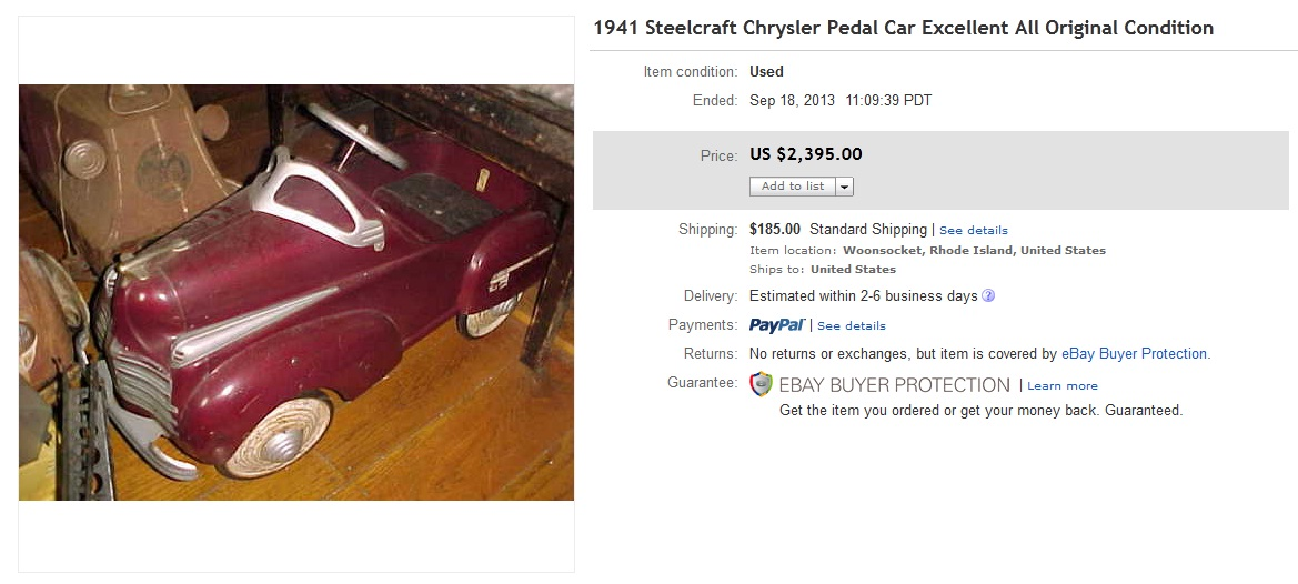 1941 Chrysler Pedal Car Sold for $2,395. on eBay | Greatest Collectibles