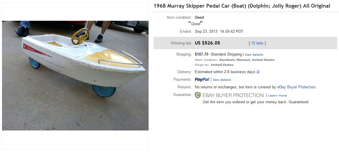 1968 Skipper Jolly Roger Pedal Car Boat Sold For 526 On Ebay Greatest Collectibles