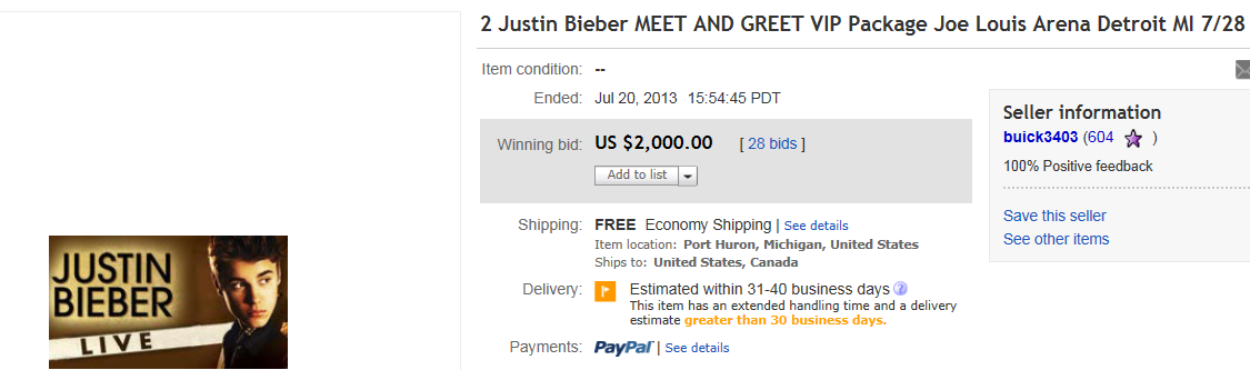 Top celebrities sold on ebay september 2013 5 top celebrity sold for 2000 on ebay name of collectible 2 justin bieber meet and greet vip package m4hsunfo