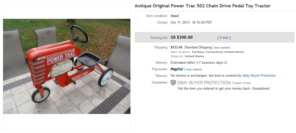 Drive Chain Tractor : Chain drive pedal tractor sold for on ebay
