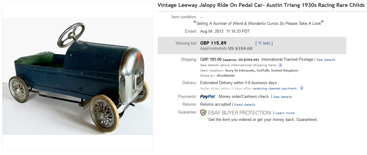 Jalopy Ride On Pedal Car Sold for $184. on eBay | Greatest Collectibles