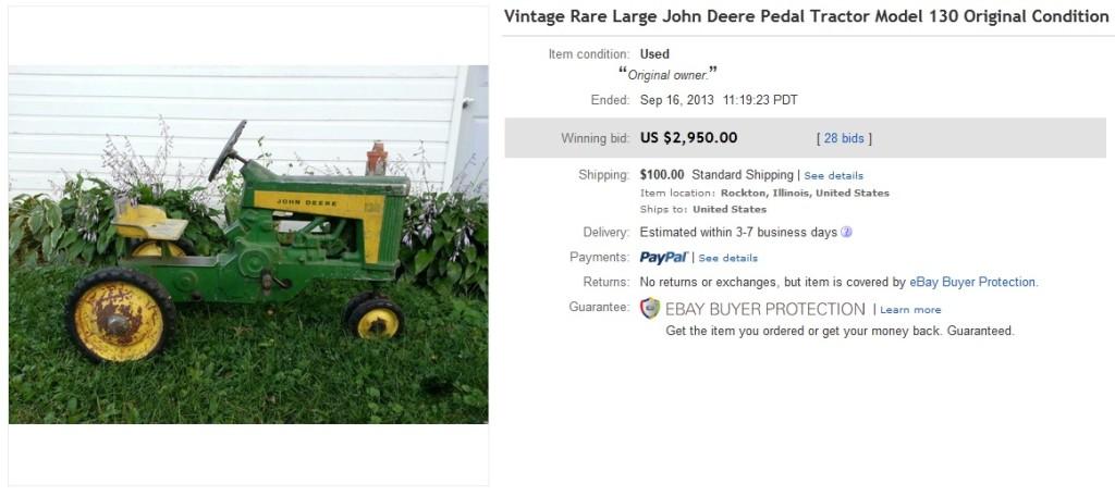 john deere pedal tractor model 130 sold for 2950 on ebay greatest collectibles. Black Bedroom Furniture Sets. Home Design Ideas