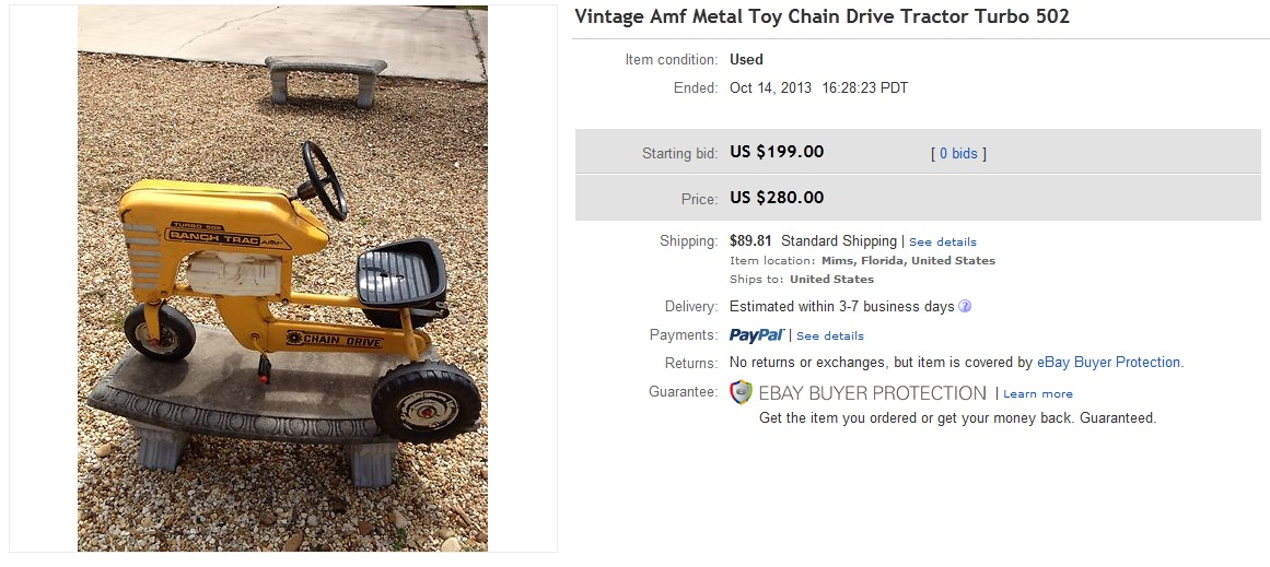 Drive Chain Tractor : Toy chain drive tractor turbo sold for on ebay