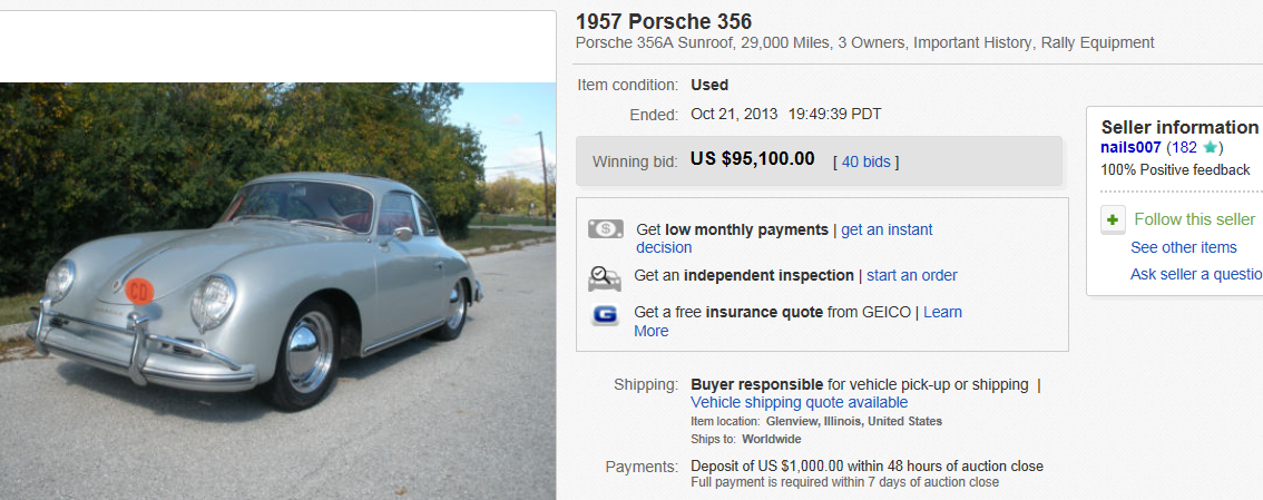 Top Cars Sold on eBay October 2013