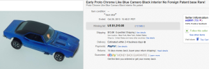 2. Most Expensive Hot Wheel Sold for $1,210. on eBay