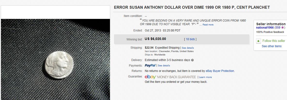 most expensive error worth sold on ebay october 2013. Black Bedroom Furniture Sets. Home Design Ideas