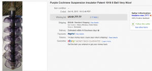 2. Most Expensive Insulator Sold for $1,777.77. on eBay