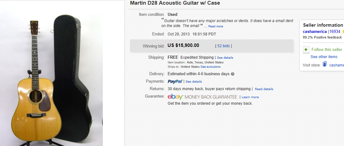 Most Expensive Guitars Sold on eBay October 2013