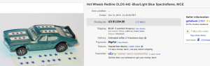 4. Most Expensive Hot Wheel Sold for $1,034. on eBay