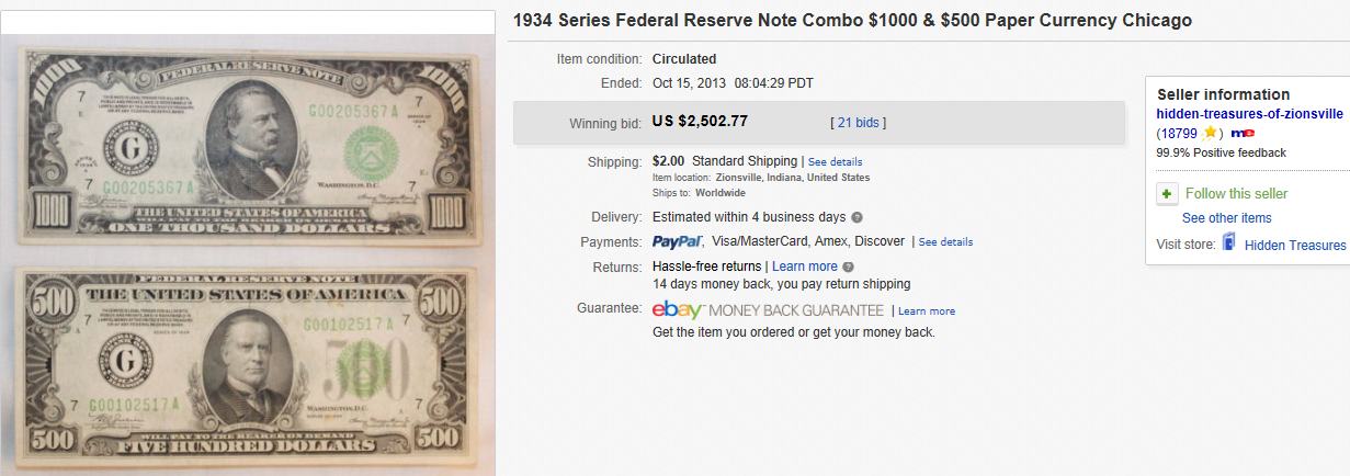 Top Currency (Paper Money) Sold on eBay October 2013