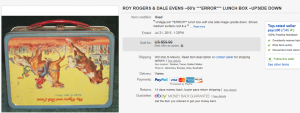 1950's Roy Rogers & Dale Evens Error Upside Down Lunch Box
