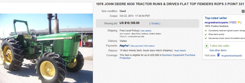 John Deere Flat Top Fenders : Most expensive tractors sold on ebay october