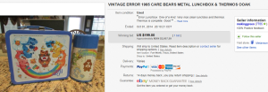 1985 Care Bears Lunch Box