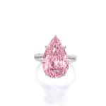 Fancy Vivid Purple-Pink Diamond and Diamond Ring