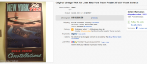2. Top Poster Sold for $2,825. on eBay