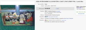 1930's Peter Rabbit Illustrator H. Cady Litho Candy Pail Lunch Box