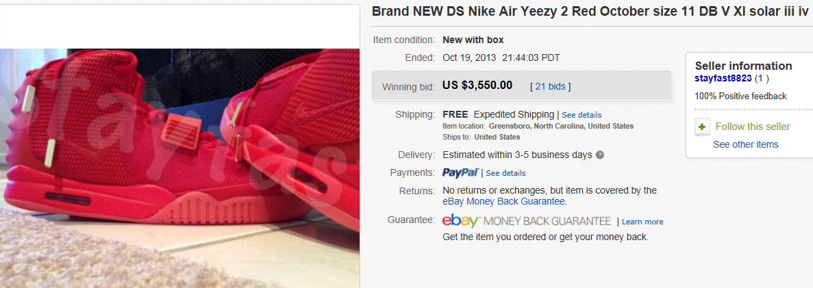 b9bc71c99b1ef ... yeezy 2 red october 7abd2 c7a59  shopping top shoes sold for 3550. on  ebay. name of collectible ds nike air
