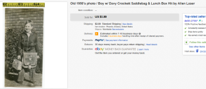Old 1950's photo / Boy Davy Crockett Saddlebag & Lunch Box Hit by Alien Laser