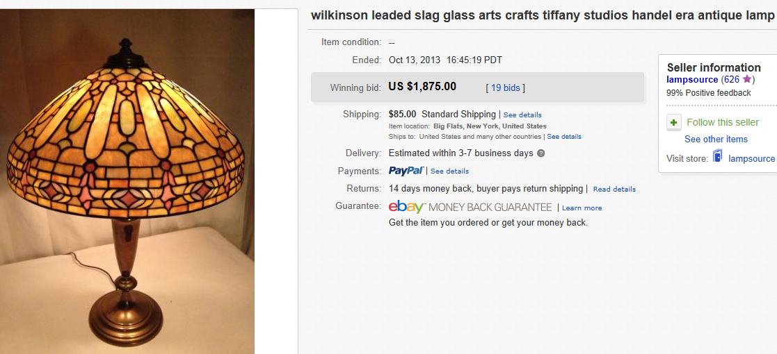 most expensive lamps sold on ebay october 2013. Black Bedroom Furniture Sets. Home Design Ideas