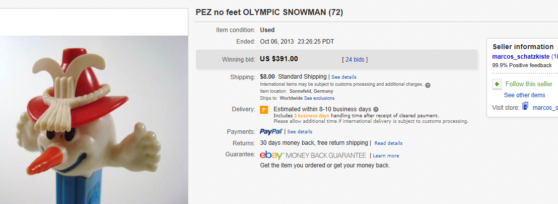 Most Expensive PEZ Sold on eBay October 2013
