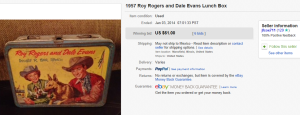 1957 Roy Rogers Dale Evans Lunch Box
