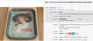 1913 Coca Cola Hamilton King Girl Standard Serving Tray