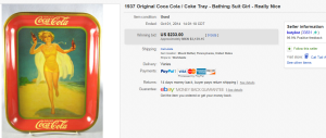 1937 Bathing Suit Girl Coca Cola Tray