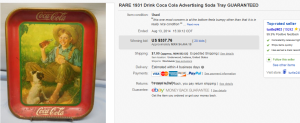 1931 Drink Coca Cola Advertising Soda Tray