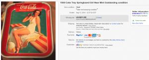 1939 Springboard Girl Coca Cola Tray