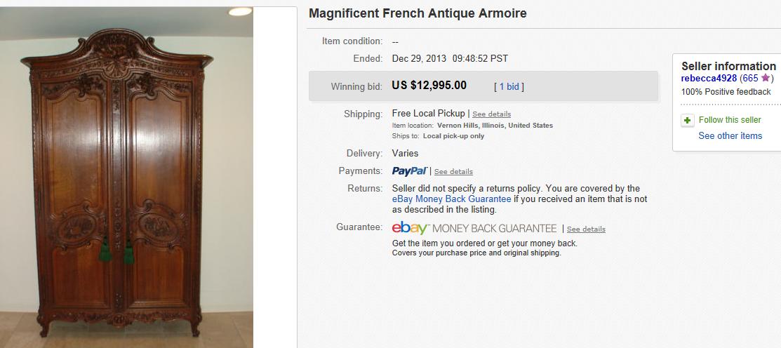 - Most Expensive Furniture Sold On EBay December 2013