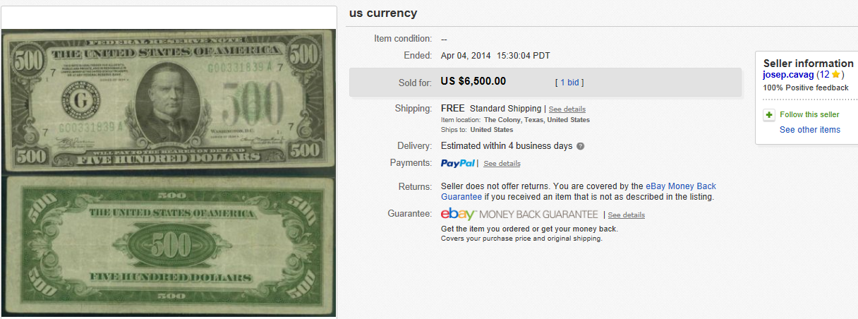 Top Currency Sold for $6,500. on eBay