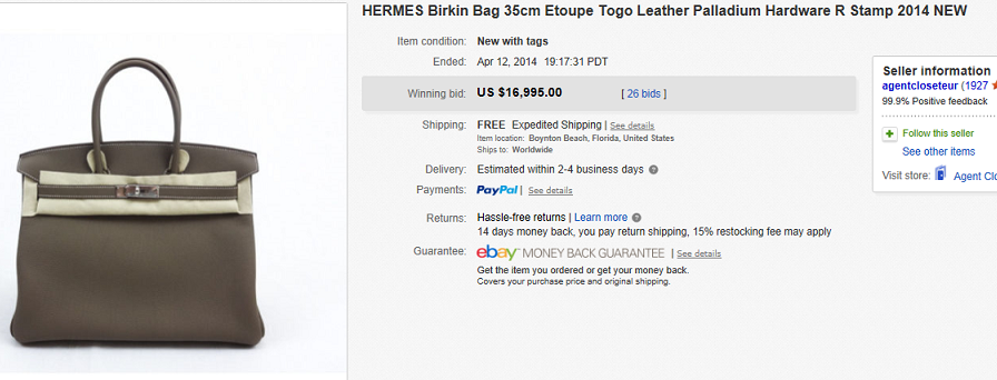 35f175e5f8 Most Expensive Hand Bags Sold on eBay April 2014