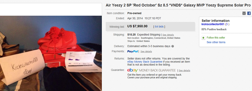 e7b84487466cc ... authentic top shoes sold for 7950. on ebay. name of collectible air  yeezy 2
