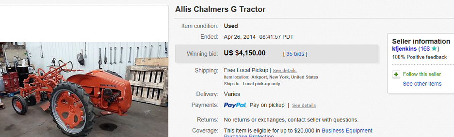 Most Expensive Tractors Sold on eBay April 2014