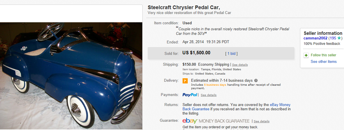 Most Expensive Pedal Cars Sold On Ebay April 2014