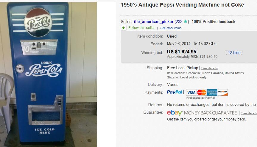 pepsi vending machine price