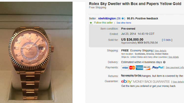Most Expensive Rolex Sold on eBay July 2014